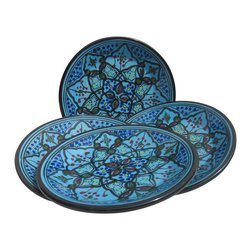 Le Souk Ceramique - Sabrine Side Plate - Set of 4 - Set of 4. 8 in. wide. Hand Painted . Hand Made . Dishwasher safe . Microwave safe . Made in Tunisia. Lead free glazes . Meets CA Prop 65 . Meets all Federal StandardsIt seems we've captured the color straight from the sea! Soothing in cool, watery turquoise, our Sabrine pattern represents everything we love about art in pottery. A contemporary take on tradition, Sabrine displays intricate details of the fusion of the Spanish-Moorish art form. With artistic elements of the intersecting arches embellished with spots of color, our Sabrine pattern inspires thoughts of ancient at and architecture in a lavish dinnerware collection.