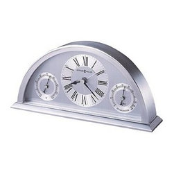 HOWARD MILLER - Howard Miller Weatherton Table Clock With Hygrometer And Thermometer - Finished in brushed and polished silver-tone, this semicircular metal clock combines contemporary flair with the additional function of a hygrometer and thermometer.