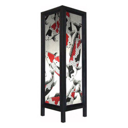 "Oriental-Décor - Large 20"" Chinese Koi Fish Lamp - A magnificent array of colorful koi fish grace the panels of this 20-inch tall decorative floor lamp. Koi fish are viewed as extremely good luck and are said to bring prosperity and health in the feng shui tradition. Many Chinese and Japanese who can afford it purchase small ponds that are filled with koi fish for their homes. Also a popular theme in Oriental art, koi fish are known for their tremendous beauty. Decorate your home with this fabulous paper floor lamp. It will provide a colorful decorative touch to any corner or bland spot of a room.  Everything is included--a 110-volt electrical chord, socket and switch, and 40w bulb. Some assembly required."