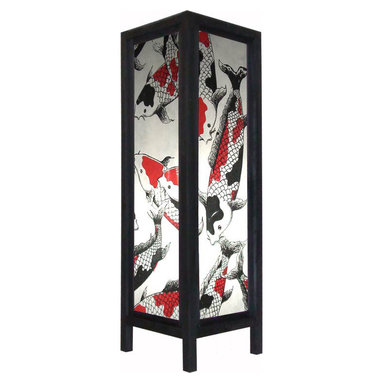 "Oriental-Decor - Large 20"" Chinese Koi Fish Lamp - A magnificent array of colorful koi fish grace the panels of this 20-inch tall decorative floor lamp. Koi fish are viewed as extremely good luck and are said to bring prosperity and health in the feng shui tradition. Many Chinese and Japanese who can afford it purchase small ponds that are filled with koi fish for their homes. Also a popular theme in Oriental art, koi fish are known for their tremendous beauty. Decorate your home with this fabulous paper floor lamp. It will provide a colorful decorative touch to any corner or bland spot of a room."