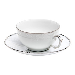 Anna Weatherley - Simply Anna Platinum Tea Cup - This is a simply elegant collection featuring Anna Weatherley's signature shark's tooth platinum banding. The collection works beautifully with all of Anna's lavishly decorated offerings.
