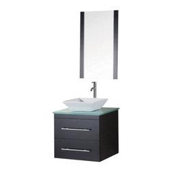 "Design Element - Design Element DEC071C-G Portland 24"" Single Sink - Wall Mount Vanity Set - Design Element DEC071C-G Portland 24"" Single Sink - Wall Mount Vanity Set in Espresso w/ Glass Top"