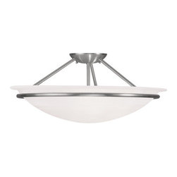 "Livex Lighting - Livex Lighting 4825 Newburgh 8 Inch Tall Semi-Flush Ceiling Fixture with 3 Light - Livex Lighting 4825 Newburgh Three Light Semi-Flush Ceiling FixtureCombining the simple modern bowl shaped ceiling light with a touch of old time wrought iron style, the Newburgh 20"" wide three light semi-flush ceiling fixture is a great transitional design that combines the best of the old and the new.Livex Lighting 4825 Features:"