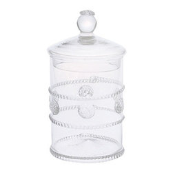"""Juliska - Juliska Isabella Mini Canister Clear - Juliska Isabella Mini Canister Clear. Dress up sparkling sugar in the kitchen or cotton balls in the bath for a refined style that leaves no stone unturned. Remove the lid for a perfect little vase. Dimensions: 6"""" H x 3.5"""" W Capacity: 12 oz"""