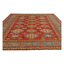 Tribal Design Super Kazak Oriental Rug 9'x12' Hand Knotted 100% Wool Sh18047 - Our Tribal & Geometric hand knotted rug collection, consists of classic rugs woven with geometric patterns based on traditional tribal motifs. You will find Kazak rugs and flat-woven Kilims with centuries-old classic Turkish, Persian, Caucasian and Armenian patterns. The collection also includes the antique, finely-woven Serapi Heriz, the Mamluk Afghan, and the traditional village Persian rug.