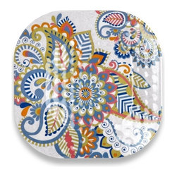 Q Squared NYC - Sanibel Dinner Plate Set/6 - Disappear to the Sandy Beaches of Sanibel Island with pretty pastels and paisley prints.