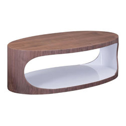 Rustic Walnut & White Modern Coffee Table - The Walnut & White Coffee Table is the answer when it comes to inviting modern design into your home. Walnut wood veneer and bright white merge to create a coffee table with handy storage. Trendy and unique, this coffee table can be styled as far as your imagination can take you.