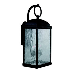 Sea Gull Lighting - Sea Gull Lighting Branford Traditional Outdoor Wall Sconce X-208-29188 - Keep your design fresh and simple with this Sea Gull Lighting Branford Traditional Outdoor Wall Sconce. It has a classic, coach lantern-inspired design with an obsidian mist finish and panels of seeded water glass. The style of the cast aluminum frame doesn't get much simpler, which is why it will easily complement a wide range of architectural styles.