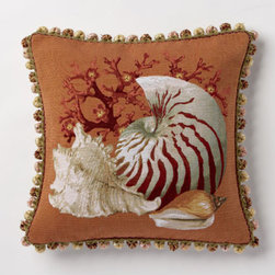 Corona Decor - Deep Orange Conch Pillow - -80% cotton, 20% wool.  -Made in france.  -Finished with hand tied fringe in the USA.  -Zippered with poly inserts.   -Dry clean only.   Corona Decor - PF5152/O