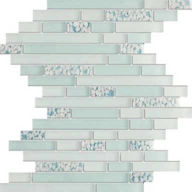 Zen Blue Ocean Interlocked Random Brick Mesh-Mounted Polished and Frosted Gl - Interlocked Random Brick Zen Blue Ocean Mesh-Mounted Polished and Frosted Glass Mosaic Tiles with River Pebble Deco Inserts  is a great way to enhance your decor with a traditional aesthetic touch. This Mosaic Tile is constructed from durable, impervious Marble & Glass material, comes in a smooth, unglazed finish and is suitable for installation on floors, walls and countertops in commercial and residential spaces such as bathrooms and kitchens.