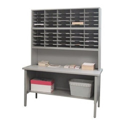 Marvel 50 Adjustable Slot Literature Organizer with Riser - 60W x 30D x 76-84H - Keeping mail in the Marvel 50 Adjustable Slot Literature Organizer with Riser - 60W x 30D x 76-84H makes sure it's well-sorted. With the 1-16-inch riser, the workstation is spacious. In addition to 50 sorting pockets, this GREENGUARD-certified, made-in-the-USA organizer has a bottom shelf for convenient storage. It's made of heavy duty stainless steel for durability. A high pressure laminate workstation, with radius edge, makes working more efficient. The sorter has two cable management grommets, an adjustable work surface and legs with leveling glides.