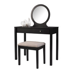 Linon Home Decor - Linon Home Decor Scarlett Vanity X-U-DK-10-KLB53085 - The Scarlett Vanity Set is perfect for the modern and contemporary styled home. Finished in a rich black, the vanity has a beige microfiber accompanying stool. An off center drawer provides ample hidden storage space while the spacious top is ideal for displaying your favorite products. A large stationary mirror makes adorning yourself easy!