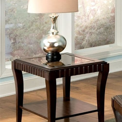 Standard Furniture - Malibu End Table in Rich Merlot Finish - Rectangular shape. Bottom shelves perfect for displaying decorative item. Beveled glass tops are removable making them easy to clean. Surfaces clean easily with soft cloth. Made from quality veneers over wood products and select solids used throughout. 28 in. W x 22 in. D x 24 in. H