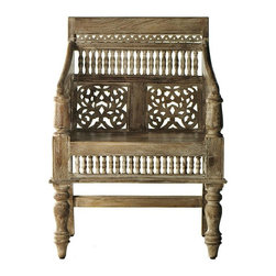 Home Decorators Collection - Hand-Carved Maharaja Chair - You'll love the attention to detail in our exquisite Hand-Carved Maharaja Chair. The intricate design features sweeping lines, meticulous cutout fretwork, rows of small turned spindles and bold, turned front legs. Whether used as a focal point in your living room, as an office chair or even at the end of your dining table, this handmade piece will elevate your decor to extraordinary. Handcrafted from high-quality Himalayan Sheesham wood. Slight imperfections in the weathered, distressed finish add rustic character.