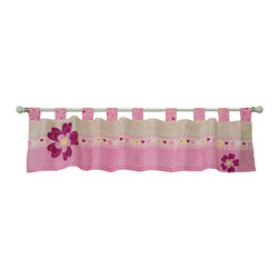 "Trend Lab - Storybook Princess - Window Valance - Add the finishing touch to your nursery with this Storybook Princess Tab Top Window Valance by Trend Lab. Valance features a tonal antique pearl floral print, a floral and heart print in bubblegum and rose pink, antique pearl, soft yellow and cranberry and a rose pink and white dot print. Large printed flowers in cranberry and rose add extra detail. Nine princess scatter print tabs allow for easy hanging. Valance measures 56"" x 13"" and fits a standard size window. Valance coordinates with the Storybook Princess collection."