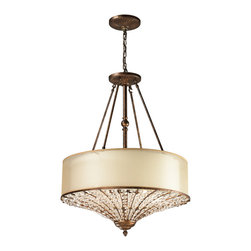 Elk Lighting - Elk Lighting Crystal Spring Collection 4 Light Pendant In Spanish Bronze - 11702 - 4 Light Pendant In Spanish Bronze - 11702/4 in the Crystal Spring collection by Elk Lighting The Crystal Spring collection is graced by a fountain-like arrangement of crystals spouting from the bottom of each fixture.  A cream fabric shade inside a beige organza shade diffuses a soft light, while the bottom crystal diffuser emits light that dances among the crystal. A Spanish Bronze finish on the metalwork is a luxurious compliment yet unlocks unforeseen versatility.     Pendant (1)