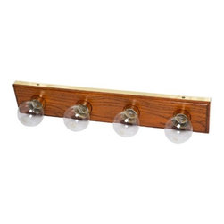 "BOSTON HARBOR - 4LT 24IN OAK TRIM VNTY FIXTURE - Vanity bath bar lights. 24"", uses medium base bulbs, 100 watt maximum (sold separately). cULus Listed.        24"" LENGTH X 4-3/8"" HEIGHT X 2-1/8"" BASE EXTENSION    Finish=Solid Oak  This item cannot be shipped to APO/FPO addresses.  Please accept our apologies"