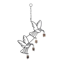 """Metal Bird Wind Chime with Curvy Base - Give a natural charm to your home decor with 21""""H High Quality Metal Bird Wind Chime with Curvy Base. This well-designed metal bird wind chime provides an aura of elegance and style to your home decor. The bells fill the home with pleasing sound, creating an ambience of cheer and happiness. This high performance wind chime is suitable to hang on the roof of your patio or porch, and is also perfect to decorate your living space. The lightweight bells dance to the tunes of the wind and create an interesting sound, filling your mind with peace and bliss. The links provided on top of it helps in conveniently hanging this wind chime at any desired place. It is built with high quality metal that bestows better durability and long life to the wind chime.. It comes with a dimension:"""