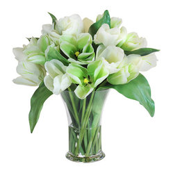 "Jane Seymour Botanicals - Tulips Glass Vase, 16"" - Too many tulips? No such thing! This fabulous crowd of fresh, perky blooms will never lose a petal, so you can enjoy that springtime feeling anywhere and always."