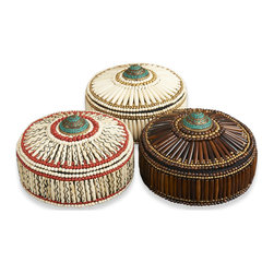 Kathy Kuo Home - Pashtun Global Colored Bone Inlay Decorative Boxes- Set of 3 - Texture, craft, color and a sense of history all combine to create the unique global signature of these bone inlay decorative boxes.  Evoking spice routes and the Silk Road, this trio add instant interest to any space.