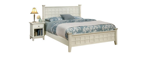Home Styles - Home Styles Arts & Crafts Queen Bed and Night Stand in White Finish - Home Styles - Bedroom Sets - 51825017 - Arts & Crafts Queen Bed & Night Stand are Mission Styling at its best!  The Arts & Crafts Queen Poster Bed embellishes typical mission styling with raised wood lattice moldings and slightly flared legs.  Finished in a White finish over hardwood solids and hardwood veneers this beds simplistic yet detailed design makes it an ideal piece for any bedroom setting. Overall size with a standard queen mattress:  64.25 x 89 x 48.5 Headboard size:  64.25 x 4 x 48.5 Footboard size:  64.25 x 4 x 21 Rail size:  82 x 2 x 6 The Arts & Crafts Night Stand embellishes typical mission styling with a framed drawer showcasing raised wood lattice moldings and slightly flared legs.  Finished in a White finish over hardwood solids and engineered woods with square brushed nickel hardware this night stands simplistic yet detailed design makes it an ideal piece for any bedroom setting. The top of the hidden pull-out tray features a scratch and stain resistant finish. Size:  18 x 16 x 24.