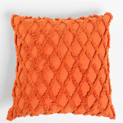 Plum & Bow Diamond Chenille Pillow, Orange - The combination of texture and color in this pillow makes me want to sing! Your Thanksgiving guests will be hugging it tightly while they wait for the turkey.