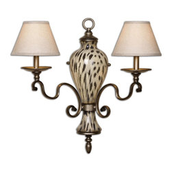 Cheetah Animal Print Wall Light - *Lightly Burnished Cheetah Print Over Ceramic With Gracefully Curved Arms Finished In A Heavily Antiqued Silver. The Hardback Shades Are A Rusty Beige Linen Fabric.