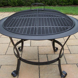 Oakland Living - 30 in. Round Fire Pit - Fits three to five logs or use charcoal for grilling. Hardened powder coat finish in black. Brass hardware. Fade, chip and crack resistant. Warranty: One year. Made from cast iron and metal. Minimal assembly required. 33 in. W x 33 in. D x 27 in. H (40 lbs.)These fire pits will make the prefect center piece at any outdoor get together. This Chimenea fire pit will be a beautiful addition to your patio, back yard or outdoor entertainment area. Adds beauty, style and functionality. Our Chimenea fire pits are perfect for any small space, or to accent a larger space.