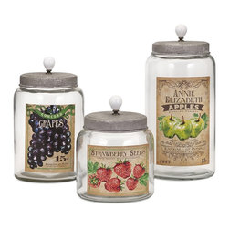 iMax Corpotation - Bailey Lidded Glass Jars, Set of 3 - Fresh from the farm: A trio of lidded glass jars with vintage fruit labels and ceramic finials are a nostalgic reminder of American farm life.