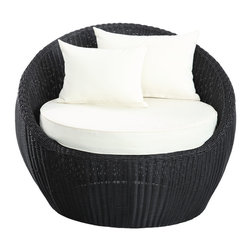 Modway Furniture - Modway Luna Patio Chair in Espresso White - Patio Chair in Espresso White belongs to Luna Collection by Modway Be uplifted while ensconced in leisurely stillness. Calm the mind, and center your energy, with an outdoor rattan chair full of endless circular movement. Newfound direction will emerge as activity springs into being once again, with a piece that conveys the pleasures of simple modernity. Luna's sweeping surround design, and comfortable 4��_��_��_��_��_ all-weather cushion seating, provide the perfect getaway from the everyday in order to refocus into the everything. Set Includes: One - Luna Patio Chair Patio Chair (1)