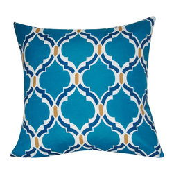 "Loom and Mill - Loom and Mill P0080-2121P 21"" x 21"" Damask Decorative Pillow, Dark Blue - With a twist on traditional French design, this decorative pillow mixes modern color combinations with classic juxtaposition. It will be a showstopper for your home. Spot clean only."