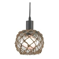 Seaglass Float Pendant (Small) - Single light pendant with a clear glass globe, decorated with a natural abaca weave overlay, is attached to an old iron finished base and is adjustable. Comes in 3 sizes: Small, Medium, Large.