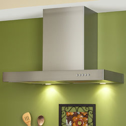 """30"""" Villa Series Stainless Steel Wall-Mount Range Hood - 860 CFM - This high-quality stainless steel range hood efficiently vents your kitchen with its powerful three-speed engine. This 30"""" Villa Series stove vent features two halogen lights and an adjustable flue to fit most ceiling heights."""