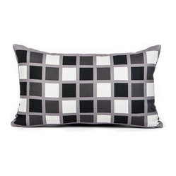 "LaCozi - ""Lance"" Black, White and Gray Throw Pillow - A windowpane print packs a whole lot of wow. Toss this pillow into the mix to make a bold graphic statement in your favorite setting."