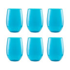 Zak Designs Adele Stemless Wineglasses, Azure, Large, Set of 6 - Add some color to the kitchen with these pretty blue glasses.