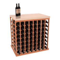 Double Deep Tasting Table Wine Rack Kit + Butcher Block Top in Redwood - The quintessential wine cellar island; this wooden wine rack is a perfect way to create discrete wine storage in open floor space. Includes a culinary grade Butcher's Block top. With an emphasis on customization, install LEDs to create an intimate wine tasting setting. We build this rack to our industry leading standards and your satisfaction is guaranteed.