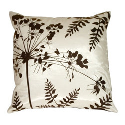 Pillow Decor - Pillow Decor - White with Brown Spring Flower and Ferns Pillow - This series of pillows are very versatile, and coordinate beautifully together. The reverse patterns allow for endless combinations. The graphic botanical print is clean and contemporary, and the fabric is sleek with a slight shimmer. Give your furniture an instant style makeover with a collection of these fresh designs!