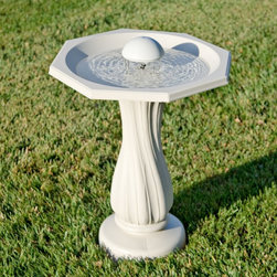 Allied Precision - Allied Precision Water Rippling Bird Bath - 390 - Shop for Garden Bird Baths from Hayneedle.com! Draw birds right into your backyard with the Water Rippling Birdbath. This durable plastic bath is in two pieces and has been tested at sub-zero temperatures to ensure it will not crack. The decorative swirled base should be placed on a level surface and filled with water or sand to give it added stability. Included with this bird bath is a water wiggler. Designed to create delicate ripples in the basin of the bird bath the Water Wiggler works to attract birds and deter mosquitoes. The Water Wiggler operates silently on two D-cell batteries for up to two months of continual use. The combination of this charming bird bath and the innovative Water Wiggler are sure to create a wonderful retreat for your neighborhood birds. Dimensions Birdbath: 20.25L x 20.25W x 27H inches Water Basin: 17.5L x 17.5W x 2.5D inches
