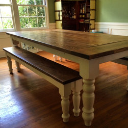 Country Farmhouse Dining Table with Oversized Spun Legs - We design beautiful, tailor-made furniture, and build it by hand to last forever.  Contact jr@saintarbor.com