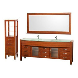 """Wyndham Collection(R) - Daytona 78"""" Double Bathroom Vanity Set & Side Cabinet by Wyndham Collection - Ch - The Daytona 78"""" Double Bathroom Vanity Set - a modern classic with elegant, contemporary lines. This beautiful centerpiece, made in solid, eco-friendly zero emissions wood, comes complete with mirror and choice of counter for any decor. From fully extending drawer glides and soft-close doors to the 3/4"""" glass, marble, or man-made stone counter, quality comes first, like all Wyndham Collection products. Doors are made with fully framed glass inserts, and back paneling is standard. Available in gorgeous contemporary Cherry or rich, warm Espresso (a true Espresso that's not almost black to cover inferior wood imperfections). Transform your bathroom into a talking point with this Wyndham Collection original design, only available in limited numbers. All counters are pre-drilled for single-hole faucets, but stone counters may have additional holes drilled on-site. Available in additional sizes, finishes and counter options. Features Constructed of solid, environmentally friendly, zero emissions wood, engineered to prevent warping and last a lifetime Includes single-hole faucet mount Includes drain assembly and P-trap Includes mirror Includes side cabinet Please note that backsplashes MUST be ordered at the same time as the vanity and counter. They cannot be shipped as separate items. Minor shade variations are possible between countertop and backsplash. In the unlikely event that a backsplash arrives damaged you will be given a full refund for the backsplash but it can not be replaced due to the likelihood of breakage. How to handle your counter Spec Sheet Installation Guide for Vanity Spec Sheet for WC-K-W045 Natural stone like marble and granite, while otherwise durable, are vulnerable to staining from hair dye, ink, tea, coffee, oily materials such as hand cream or milk, and can be etched by acidic substances such as alcohol and soft drinks. Please protect your c"""