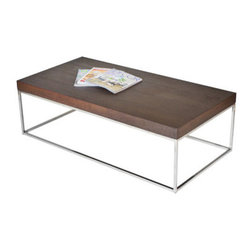 Pangea Home - Floyd Coffee Table - Cool and sleek coffee table with high polished metal frame legs. Features: -Wood veneer and high gloss lacquer.-High polished metal legs.-Floyd collection.-Collection: Floyd.-Style: Modern.-Base Finish: High polished metal.-Distressed: No.-Powder Coated Finish: No.-Gloss Finish (Finish: Espresso): No.-Gloss Finish (Finish: Walnut): No.-Gloss Finish (Finish: White): Yes.-Wrought Iron: No.-Top Material: Manufactured Wood.-Base Material: High polished metal.-Base Type: Legs.-Solid Wood Construction: No.-Reclaimed Wood: No.-Design: Table.-Drop Leaf: No.-Shape: Rectangle.-Lift Top: No.-Tray Top: No.-Storage Under Tabletop: No.-Folding: No.-Magazine Rack: No.-Built In Clock: No.-Powered: No.-Nested Stools Included: No.-Legs Included: Yes.-Casters: No.-Exterior Shelves: No.-Cabinets Included: No.-Drawers Included: No.-Corner Block: No.-Cable Management: No.-Adjustable Height: No.-Glass Component: No.-Upholstered: No.-Outdoor Use: No.-Swatch Available: No.-Commercial Use: Yes.-Recycled Content: No.-Eco-Friendly: No.-Product Care: Wipe with damp cloth.Dimensions: -Overall Height - Top to Bottom: 15.-Overall Width - Side to Side: 48.-Overall Depth - Front to Back: 24.-Width When Fully Extended: No.-Table Top Width - Side to Side: 48.-Table Top Depth - Front to Back: 24.-Legs: Yes.-Overall Product Weight: 38.Assembly: -Assembly Required: Yes.-Additional Parts Required: No.