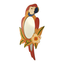 Hand Painted Wooden Red Parrot Mirror 25 In. - Add a colorful accent to any room with this lovely parrot mirror. Made of wood, it measures 25 3/4 inches tall, 11 1/2 inches wide, and 1/4 inch thick. It is carefully hand painted in warm tones, and easily mounts to the wall with a single nail or screw. The mirror portion measures 9 3/4 inches tall by 5 inches wide. This piece makes a wonderful gift for friends with tropical island themed decor, and looks great at tiki bars.