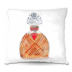 DiaNoche Designs - Pillow Woven Poplin - Diva Perfume - Toss this decorative pillow on any bed, sofa or chair, and add personality to your chic and stylish decor. Lay your head against your new art and relax! Made of woven Poly-Poplin.  Includes a cushy supportive pillow insert, zipped inside. Dye Sublimation printing adheres the ink to the material for long life and durability. Double Sided Print, Machine Washable, Product may vary slightly from image.