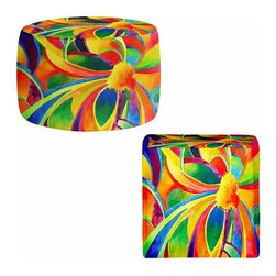 DiaNoche Designs - Ottoman Foot Stool - The Spirit Molecule - Lightweight, artistic, bean bag style Ottomans. You now have a unique place to rest your legs or tush after a long day, on this firm, artistic furtniture!  Artist print on all sides. Dye Sublimation printing adheres the ink to the material for long life and durability.  Machine Washable on cold.  Product may vary slightly from image.