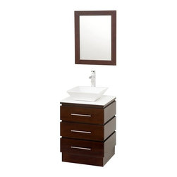 Wyndham Collection - 22 in. Bathroom Vanity Set - Includes one bathroom vanity, one white porcelain sink and matching mirror. Faucets not included. Three drawers. Top drawer has cut out for plumbing. 8 stage painting and coloring process. White glass top. Floor standing vanity. Contemporary and unique design. Deep doweled drawers. Side mount drawer slides. Single hole faucet mount. Lots of storage space for a small vanity. Metal hardware. Made from wood and MDF. White, espresso and brushed chrome color. Care Instruction. Vanity: 22.25 in. W x 20 in. D x 36 in. H. Mirror: 22 in. W x 28 in. H