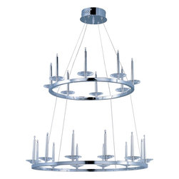 ET2 Lighting - ET2 E23185 20 Crystal 20 Light Pendant - If the Knights of the Round Table met in the 21st century, they would have gathered under an impressive Circolo pendant. Harmonious concentric circles suspended from delicate cables seem to defy gravity as they support Polished Chrome pillars standing vigil on regal rings.