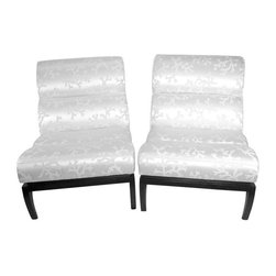 """Pre-owned Contemporary White Silk Shantung Slipper Chairs - A sleek and sexy pair of contemporary white silk shantung slipper chairs with dark expresso legs. The chairs are in mint condition and have been newly upholstered in a gorgeous silk shantung fabric with a cherry blossom branch pattern.      These are very sturdy chairs and extremely comfortable. Kick off your shoes, grab a cocktail and sit back in these contemporary beauties. The seller had the chairs treated by a professional with a  'stain repellant.""""  The chairs also come with a """"magic"""" eraser to treat any accidental spills. These chairs will be dazzling for years to come."""
