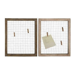 Benzara - Set of Two Wood Metal Wall Decor Assorted with Wire Mesh - Set of two wood metal wall decor assorted with wire mesh. Some assembly may be required.