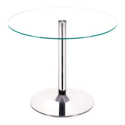 "Zuo - ""Zuo Galaxy Dining Table, Clear Glass"" - ""Your classic round dining table gets a modern update with a clear tempered glass top and a chromed steel tube center and base. The Galaxy diningtable brings modern class to any eating area: kitchen, dining, or break rooms.Dimensions (W x L x H): 39"""" x 39"""" x 29.5""""Cubic Feet: 5.97Weight: 56.8 lbsMaximum Weight Capacity: 50 lbsProduct Cover: Tempered GlassProduct Material: Chromed SteelAssembly Required: Yes"""