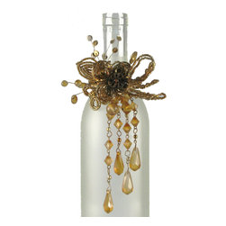 Beaded Bottle Collar Amber - Dressing for dinner? But of course. Your favorite bottle of wine deserves no less. This bottle collar is available in celebratory colors to suit any occasion.